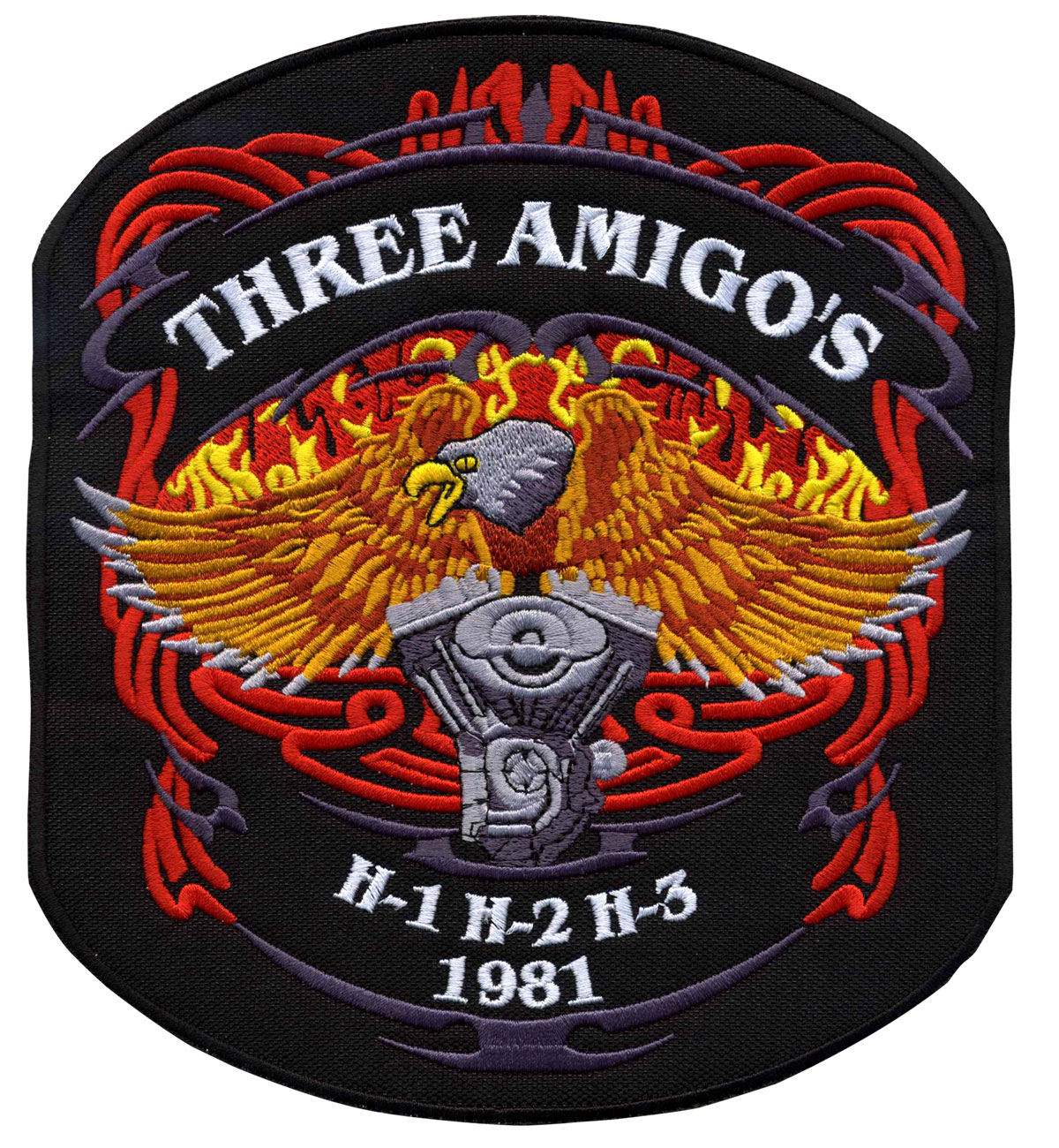 Description du patch de motard brode pour Three Amigos.